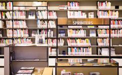 Rek met sprinterboeken in bib Driehoek
