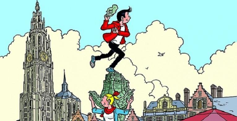 Suske staat op de sokkel van Brabo, klaar om een hand te werpen. Wiske staat voor de sokkel. Op de achtergrond de kathedraal van Antwerpen en enkele huizen van de Groenplaats.