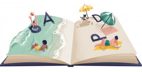 Open boek met letters en mensen die zonnebaden, zwemmen, onder een parasol zitten en een boek lezen
